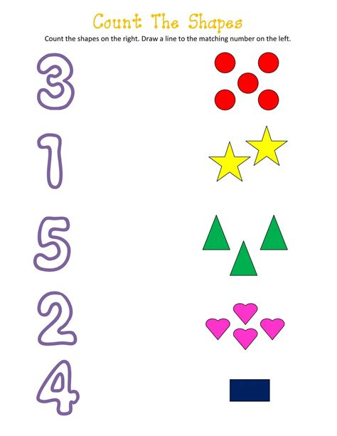 http number shapes and number worksheets for activity shelter