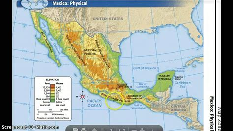 mexico physical features map mexico map physical