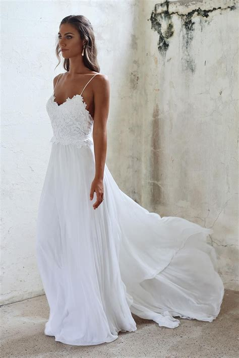 summer wedding simple a line spaghetti straps open back summer wedding dress