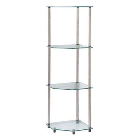 Free Standing Shelves For Bathroom Classic Glass Stainless Steel Four Tier Corner Shelf Convenience Concepts