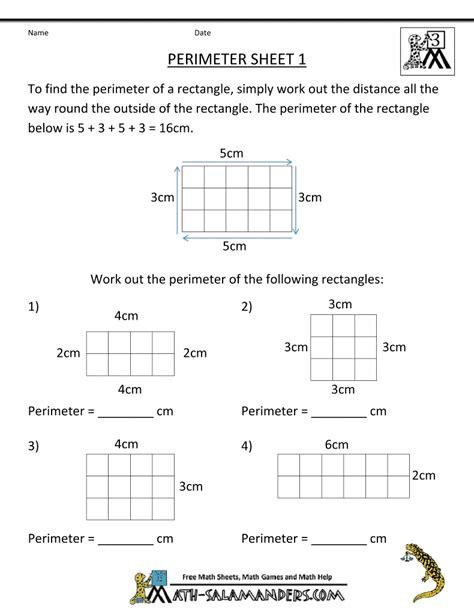 Area Worksheets 3rd Grade by Math Salamanders 3rd Grade Perimeter Worksheets Math