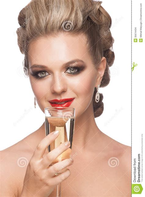 haircuts drink woman with glass of chagne stock images image 35674434