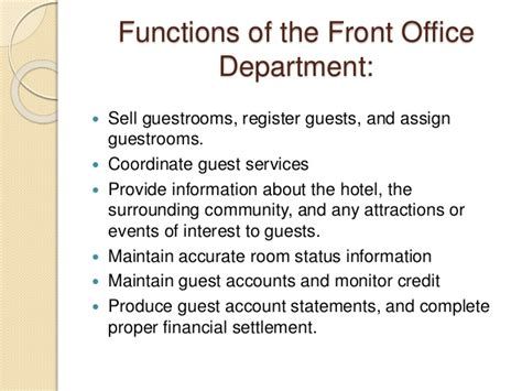 What Is The Purpose Of The Department Of Interior by Introduction Of Rooms Division Front Office And Housekeeping Departme