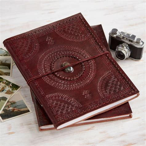 Handmade Leather Photo Album - handmade indra xl stoned leather photo album by paper high