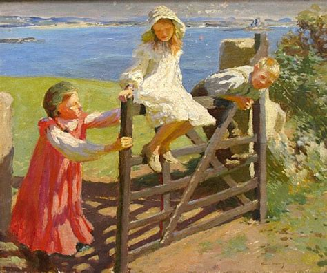 swinging on the gate children swinging on a gate by harold harvey painting id