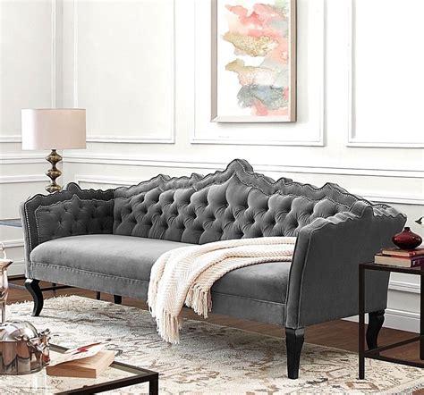 Gray Velvet Sofa With Nailheads by Horchow Style Haute House Bellissimo Tufted Gray Velvet