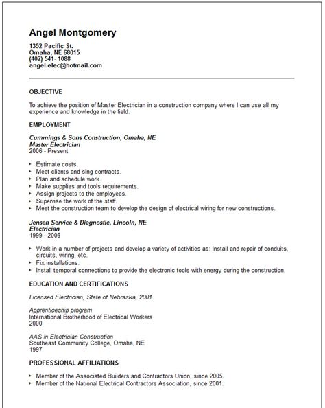 Resume Templates Master Electrician Engineering Resume Exles