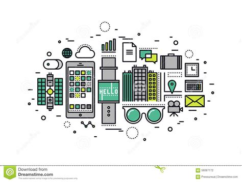 future gadgets 7 apps to help you decorate like a pro wearable tech line style illustration stock vector image
