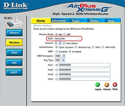 how can i change my d link di 624 home network s ssid