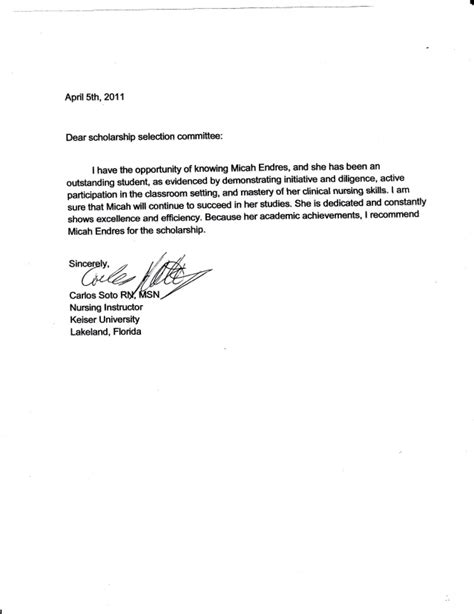 Letter Of Recommendation To Scholarship Committee letter of recommendation carlos soto