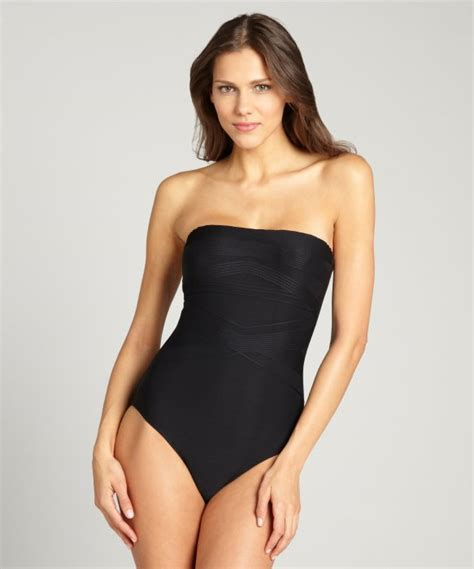 Rent Tables Badgley Mischka Black Tonal Striped Strapless One Piece
