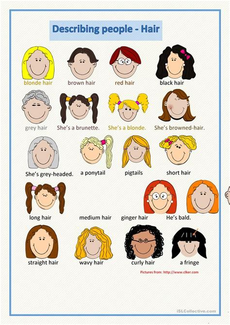 appearances and hairstyles esl 57 free esl hair worksheets