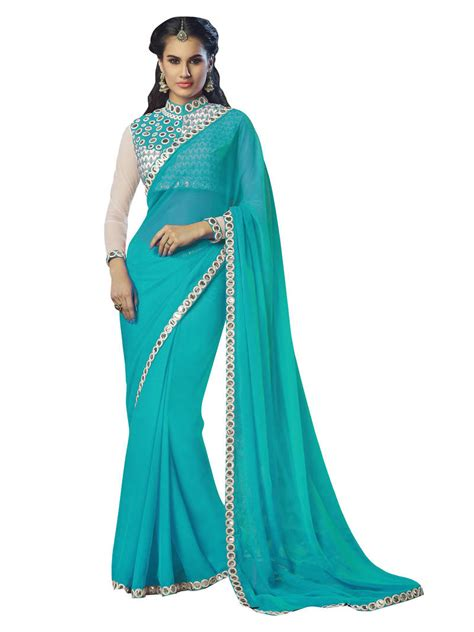 Blue Flower Blouse Point One buy sky blue embroidered georgette saree with blouse