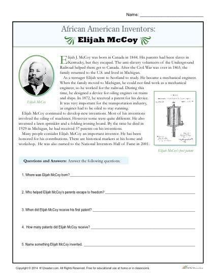 An American Worksheet American Inventors Elijah Mccoy American Inventors Worksheets And Activities