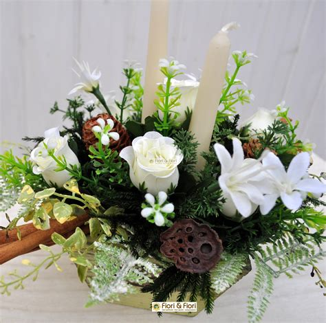 composizione fiori artificiali christmas  decorazioni