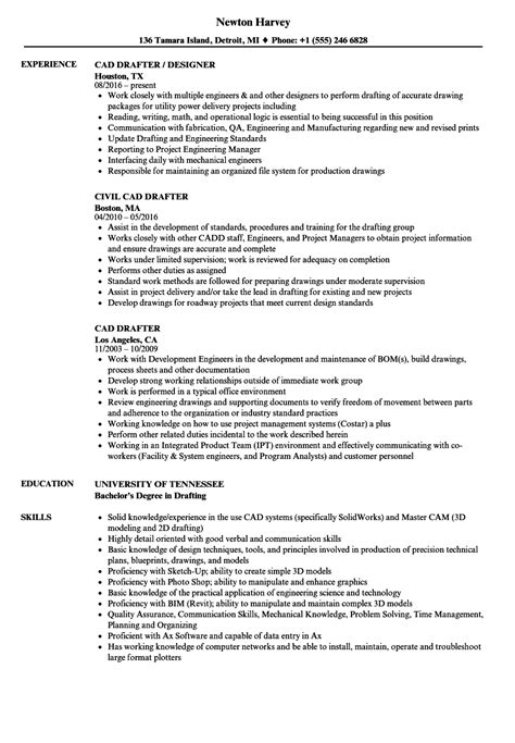 drafting resume exles cad drafter resume sles velvet