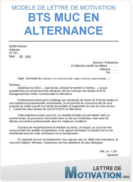 Lettre De Motivation Ecole Bts Muc Alternance Lettre De Motivation Contrat D Apprentissage