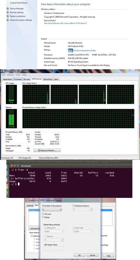 windows 7 professional 64bit 8gb ram installed 2 98gb