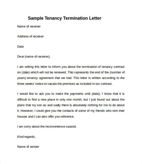 Agreement To Vacate Letter 10 sle notice to vacate letters sle templates