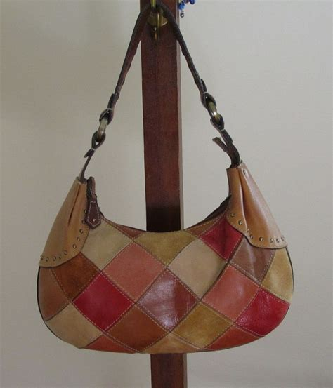 Fossil Patchwork Handbags - leather patchwork design vintage shoulder bag