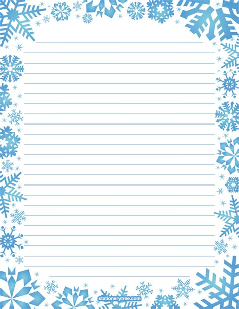 Printable Snowflake Stationery Snowflake Stationery Template