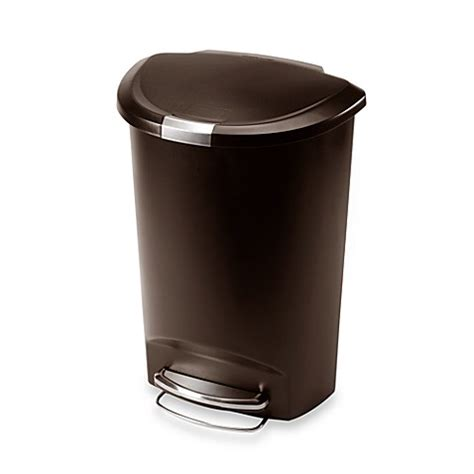 bed bath and beyond simplehuman trash can simplehuman 174 plastic semi round 50 liter step on trash can