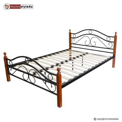 Wood And Iron Bed Frame Metal Bed Iron Bed King Wood Slatted Black Brown Bed Frame 803 Ebay