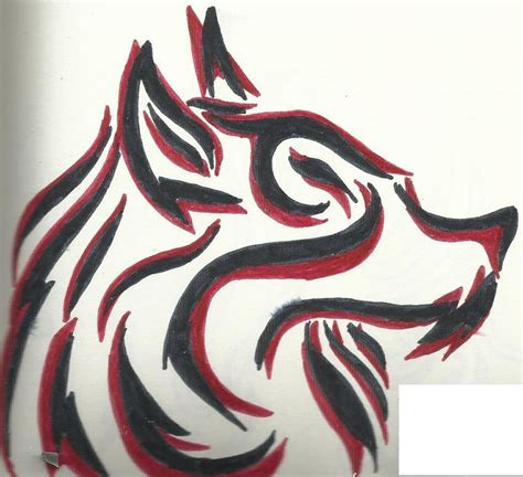 red and black tribal wolf tattoo by tazimo on deviantart