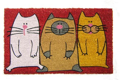 geo crafts inc tuffcor panama fleur de lis doormat three colorful cats doormat contemporary doormats by