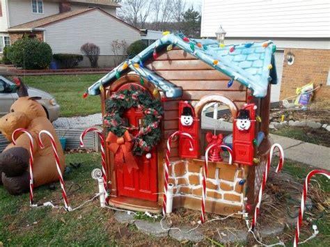 turn  plastic playhouse  gingerbread house