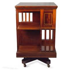 iron bookcase mahogany inlaid iron base revolving bookcase antiques