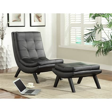 black leather chair and ottoman set faux leather lounge chair and ottoman set in black tsn51 b18