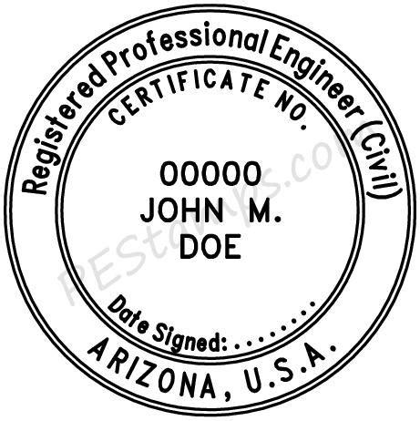 arizona professional engineer stamp pe stamps