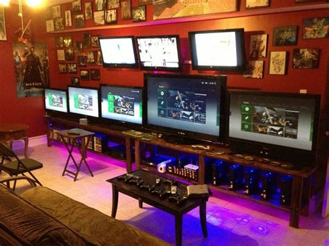 gamers living room xbox 360 lan setup gaming setups living rooms the o jays and xbox