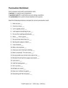 printable punctuation worksheets