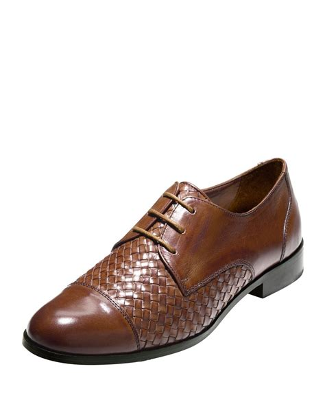 oxford sandals lyst cole haan jagger woven leather oxford shoes in brown