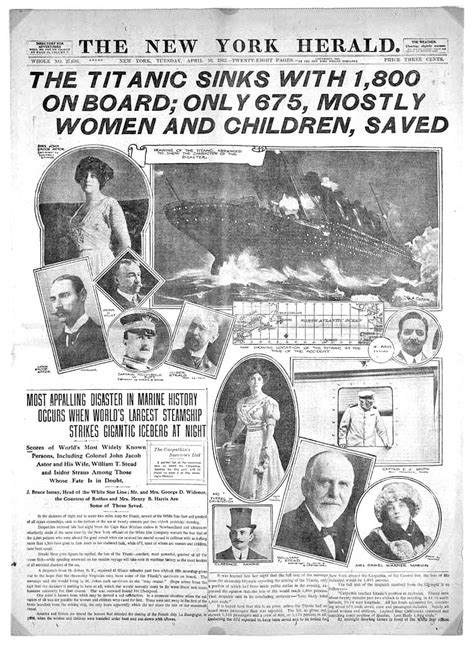 Titanic Sinks Newspaper by Some Real Pictures Of Titanic