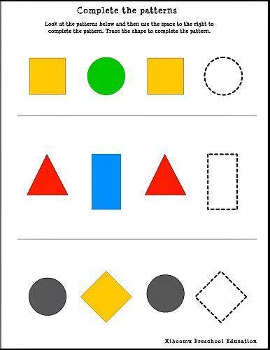 pattern recognition geometric shapes shape pattern worksheets for kindergarten kindergarten