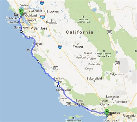 Pch San Francisco To Los Angeles - los angeles to san francisco map michigan map