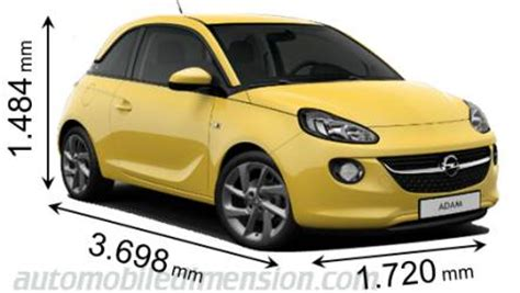 Vauxhall Adam Dimensions Dimensions Of Opel Vauxhall Cars Showing Length Width