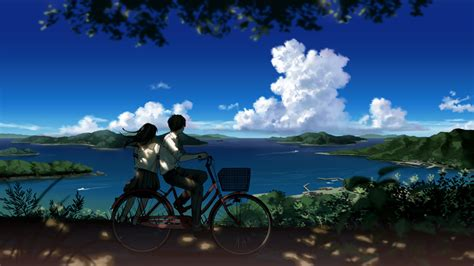 anime wallpaper hd landscape boy and girl looking at beautiful landscape hd wallpaper