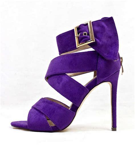 purple high heel sandals barbara purple strappy wowtrendz stiletto high heel