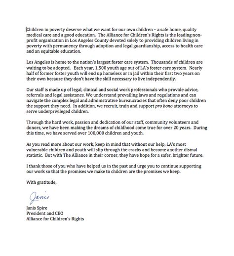 Sle Letter Referral Community Service Letter From The Ceo Alliance
