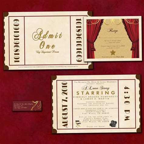 antique theatre ticket custom wedding invitation sle