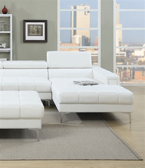 poundex white leather modern sectional sofa poundex sofa chaise sectional white set sectionals