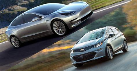 Tesla F Tesla Model 3 Vs Chevrolet Bolt Battle Of The Range Evs