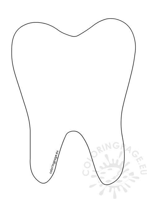 tooth templates free printable tooth outline coloring page