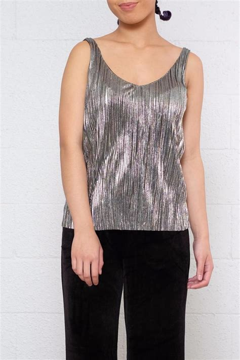 Blouse Atasan Sabarina Import Silvery Stripe Size M 304101 noisy may pleated metallic top from vancouver by 8th