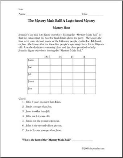 printable deduction puzzles for adults problem solving worksheets free math printables for