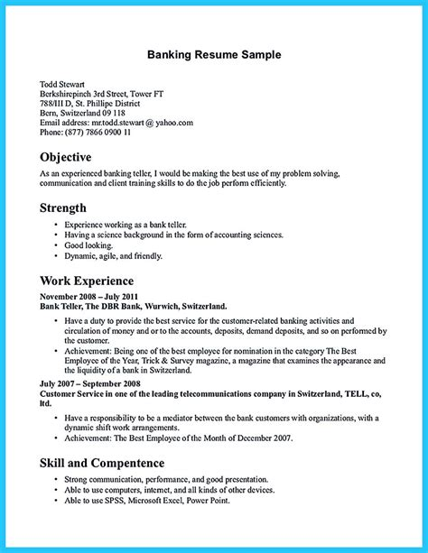 Bank Resume by Banking Resume Format For Experienced Resume Template